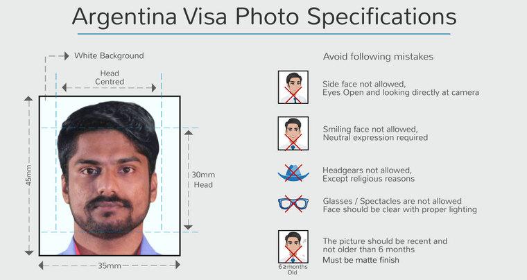 argentina visa photo size