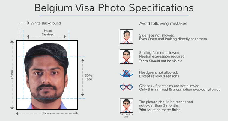 belgium tourist visa photo specifications