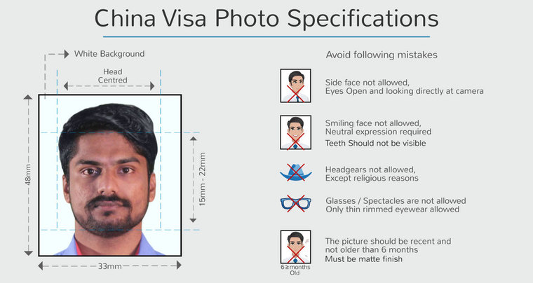 photo specification for china visit visa