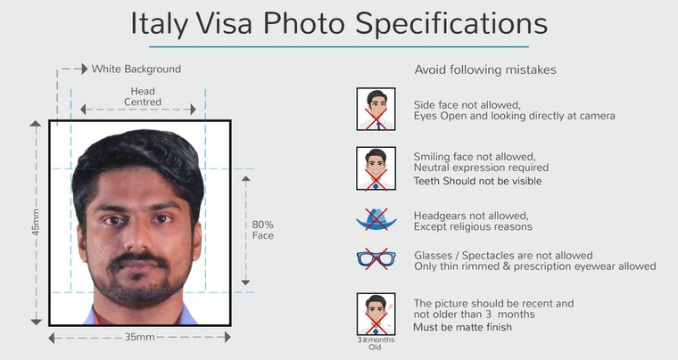 photo specifications of italy student visa