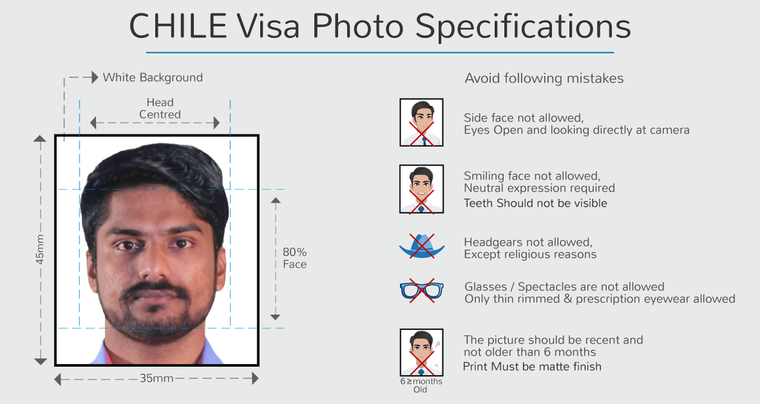 chile student visa photo specifications