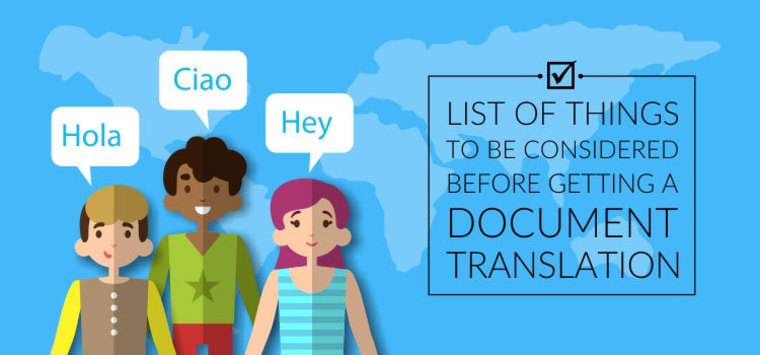 Large list of things to be considered before getting a document translation